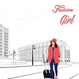Town Background With a Fashion Girl Vector Illustration
