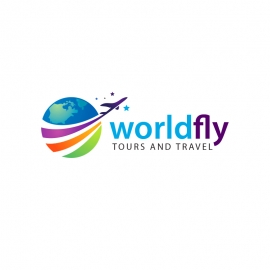 Travel Agency Logo with Rainbow & Blue World