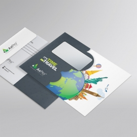 Travel Business B5 Envelope With World Skyline Elements