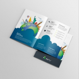 Travel Business BiFold Brochure With World Skyline Elements