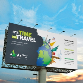 Travel Business Billboard Banner With World Skyline Elements