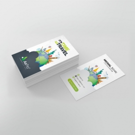 Travel Business Card With World Skyline Elements