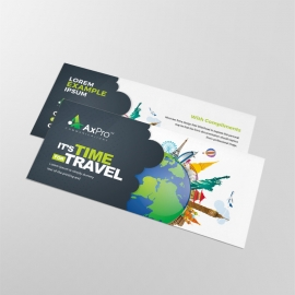 Travel Business Compliment Card With World Skyline Elements