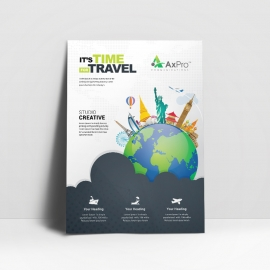 Travel Business Flyer With World Skyline Elements