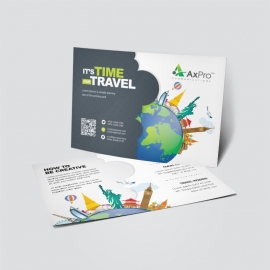 Travel Business Postcard With World Skyline Elements
