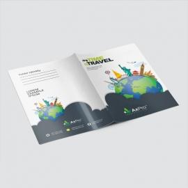 Travel Business Presentation Folder With World Skyline