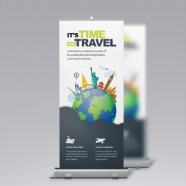 Travel Business Rollup Banner With World Skyline Elements