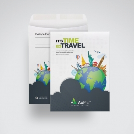Travel C4 Envelope Catalogue With World Skyline Elements