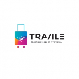 Travel Shop Logo with Colourful Trolley Symbol