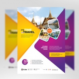 Travel & Tour Flyer With Yellow & Magenta