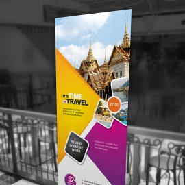 Travel & Tour Rollup Banner With Yellow & Magenta
