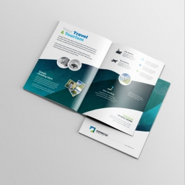 Travel & Tourism BiFold Brochure With Abstract