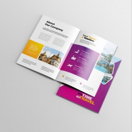 Travel & Tourism BiFold Brochure With Yellow & Magenta