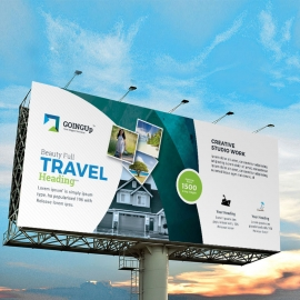 Travel & Tourism Billboard Banner With Abstract
