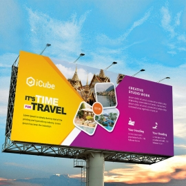 Travel & Tourism Billboard Banner With Yellow & Magenta