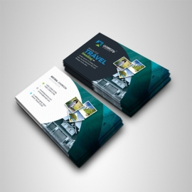 Travel & Tourism Business Card With Abstract