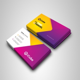 Travel & Tourism Business Card With Yellow & Magenta