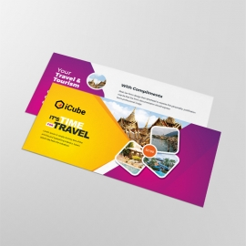 Travel & Tourism Compliment Card With Yellow & Magenta
