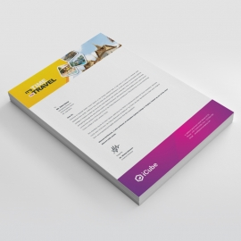 Travel & Tourism Letterhead With Yellow & Magenta