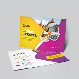 Travel & Tourism Post Card With Yellow Magenta