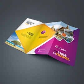 Travel & Tourism TriFold Brochure With Yellow & Magenta