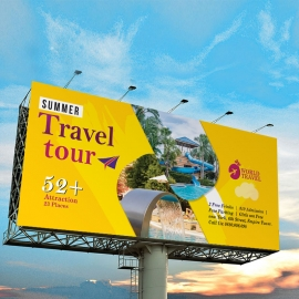 Travel Tours Billboard Sinage With Yellow Accent