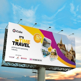 Travel Tours Billboard With With Yellow And Purple Accent