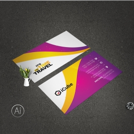 Travel Tours Business Card With Yellow And Purple Accent