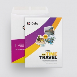 Travel Tours Catalog Envelope With Purple And Yellow Accent
