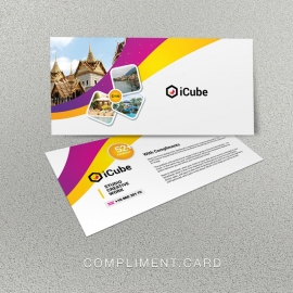 Travel Tours Compliment Card With Yellow And Purple Accent