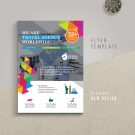 Travel Tours Flyer With Abstract