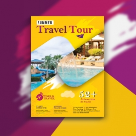 Travel Tours Flyer WIth Yellow Accent