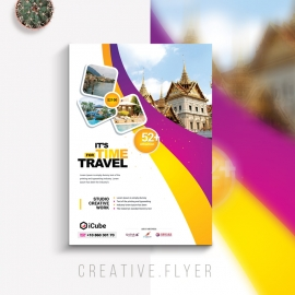 Travel Tours Flyer With Yellow And Purple Accent