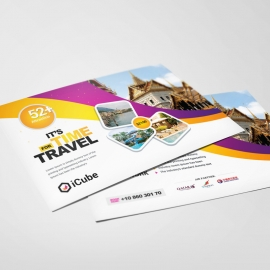 Travel Tours PostCard With Yellow And Magenta Accent