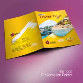 Travel Tours Presentation Folder WIth Yellow Accent