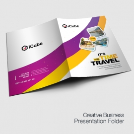 Travel Tours Presentation Folder With Yellow Purple Accent