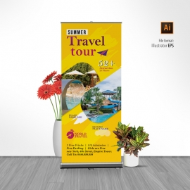 Travel Tours Rollup Banner With Yellow Accent