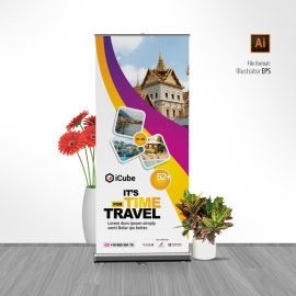 Travel Tours Rollup Banner With Yellow And Purple Accent