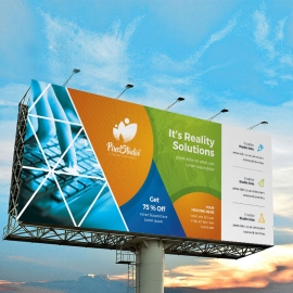 Triangle Style Billboard Banner With Orange Green