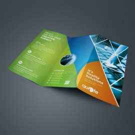 Triangle Style TriFold Brochure With Green Orange Accent