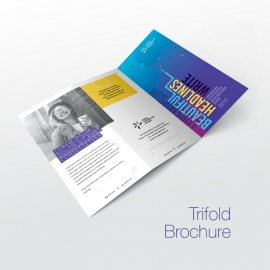 Trifold Brochure With Blue & Yellow