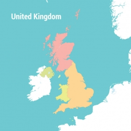 United Kingdom Map Colorful Vector Design