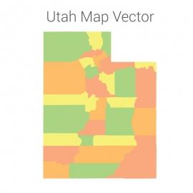 Utah Map Colorful Vector Design