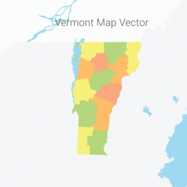 Vermont Map Colorful Vector Design