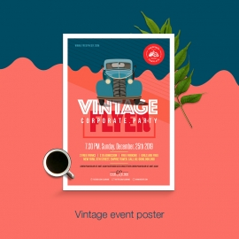 Vintage Event Flyer / Poster Layout With Retro Car