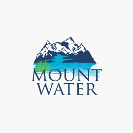 Water Logo with Mountain & Blue Ocean Nature