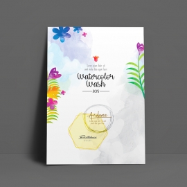 WaterColor Minimal Floral Creative Flyer Poster