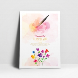 Watercolor Poster with Watercolor Wash & Floral Design