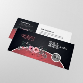 Wedding & Events Compliment Card With Flower Red Black