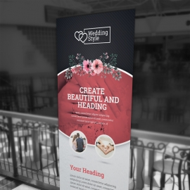 Wedding & Events Rollup Banner With Cricle Oval